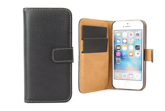 Étui portefeuille Soft en simili cuir noir pour iPhone SE, iPhone 5 et iPhone 5S