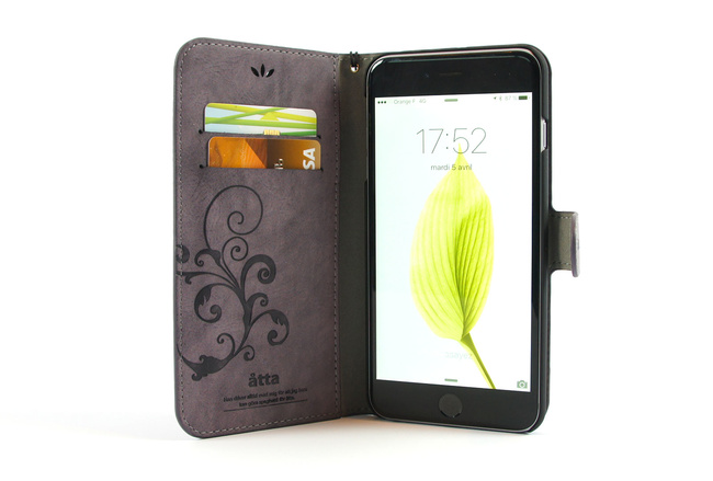 Étui portefeuille en simili cuir violet pour iPhone 6S et iPhone 6