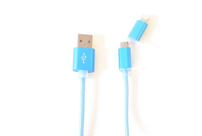 Cable couleur Bleu lightning et mini usb