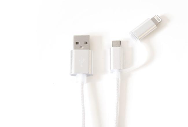 Cable couleur Gris lightning et mini usb