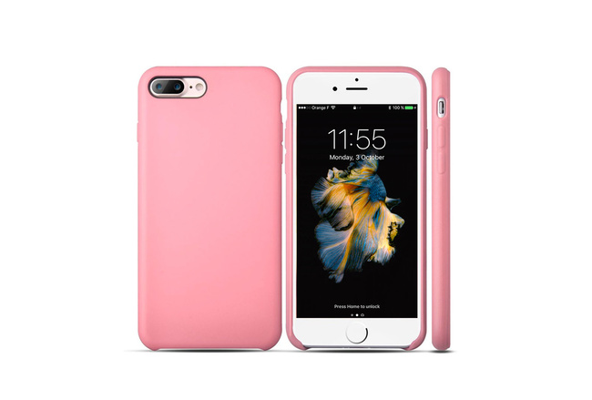 Coque silicone souple rose pour iPhone 7