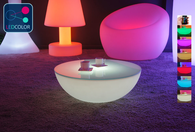 Table basse lumineuse led multicolore sans fil moon s - Table basse multicolore ...