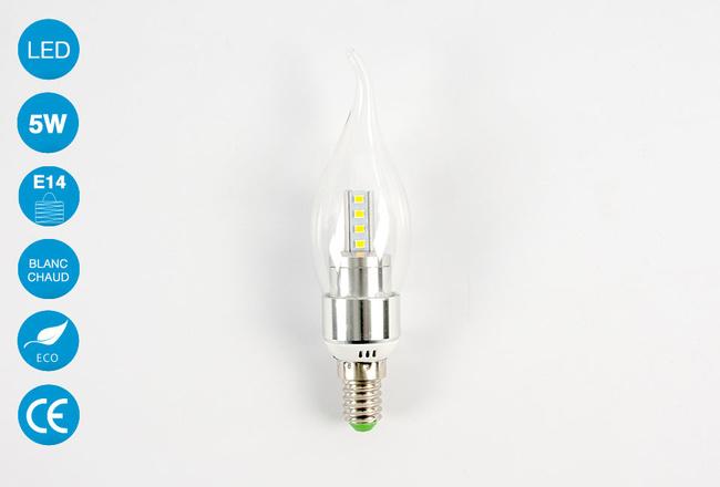 Ampoule LED E14 forme bougie 5 Watts Blanc Chaud