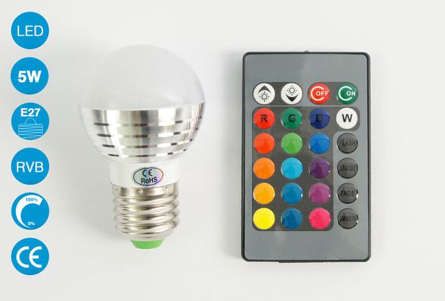 Ampoule LED E27 5 Watts RVB avec télécommande