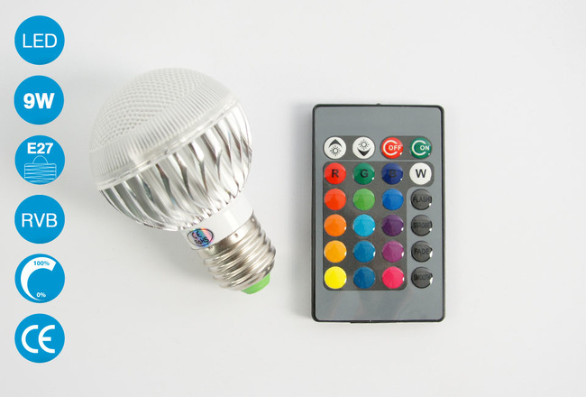 Ampoule LED E27 9 Watts RVB avec télécommande