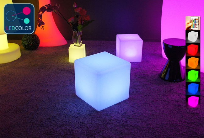 Cube lumineux multicolore sans fil cube led 40 cm 60 for Cube lumineux exterieur sans fil