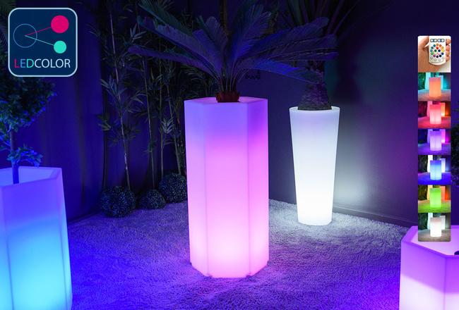 Pot Lumineux à LED Multicolore - HEXAGONE XL