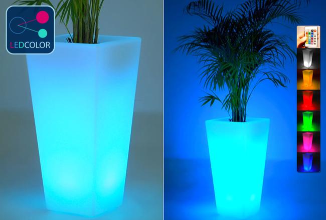 pot et cache pot lumineux solaire led multicolore sans fil 75. Black Bedroom Furniture Sets. Home Design Ideas