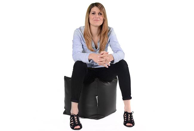 Pouf Cube BiG52 - Simili Cuir Noir