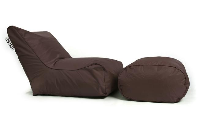 Fauteuil pouf BiG52 chocolat avec repose pieds