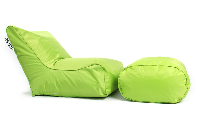 Fauteuil pouf BiG52 vert avec repose pieds