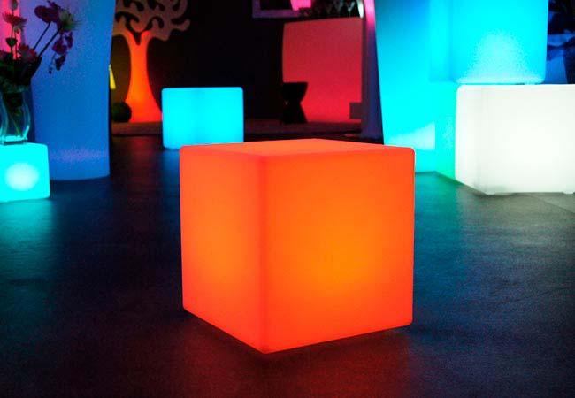 Cubes lumineux LED sans fil, multicolores, avec télécommande