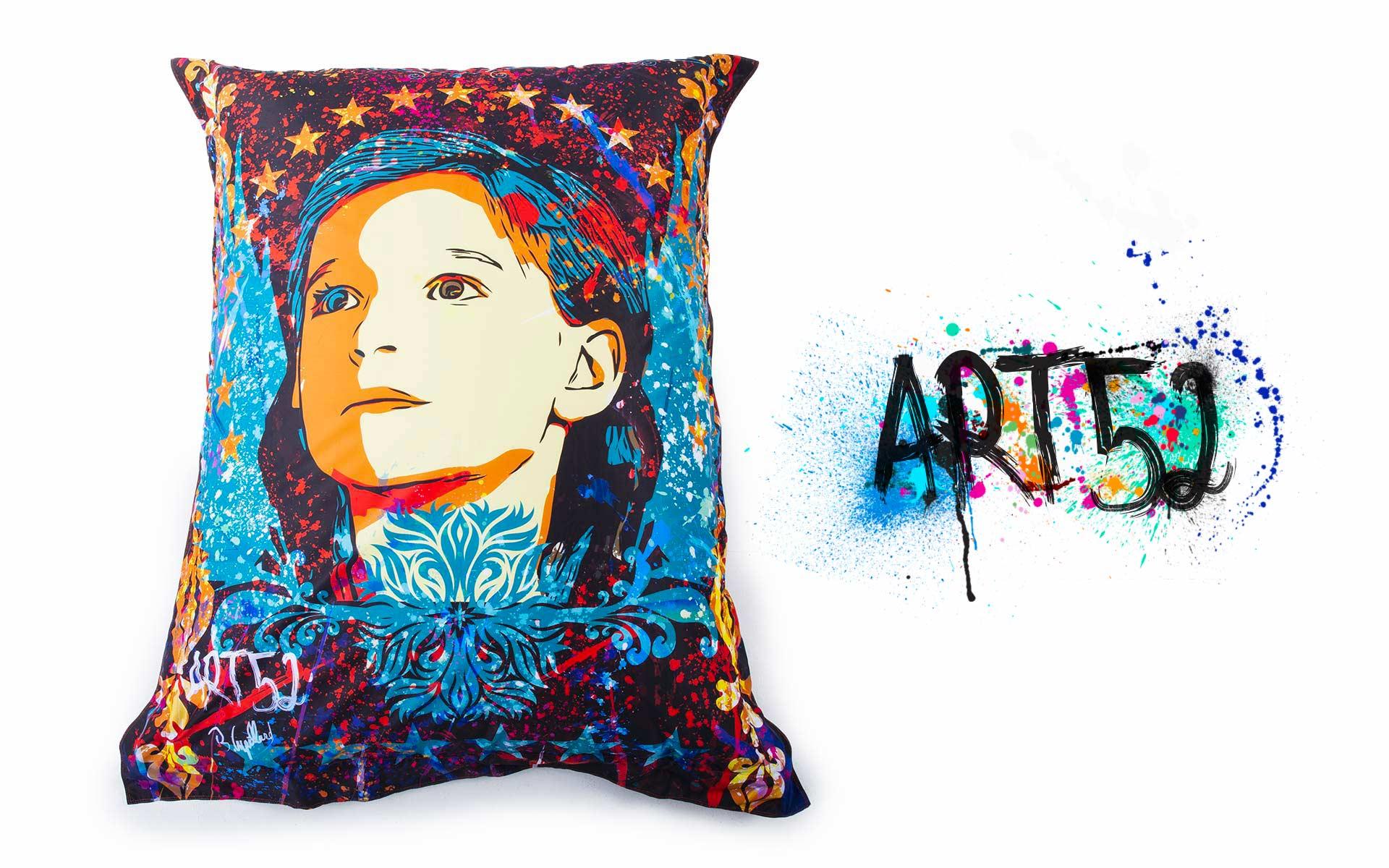 Pouf ART52 Ange, avec tissu polyester, M1 Anti-Feu