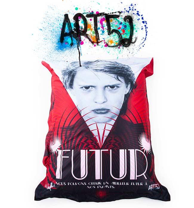 Pouf ART52 Futur, avec tissu polyester, M1 Anti-Feu