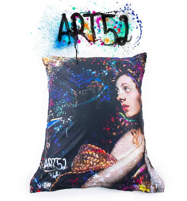 Pouf ART52 Illumination, avec tissu polyester, M1 Anti-Feu