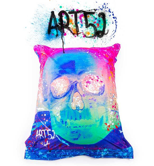 Pouf ART52 Vanité Multicolore, avec tissu polyester, M1 Anti-Feu