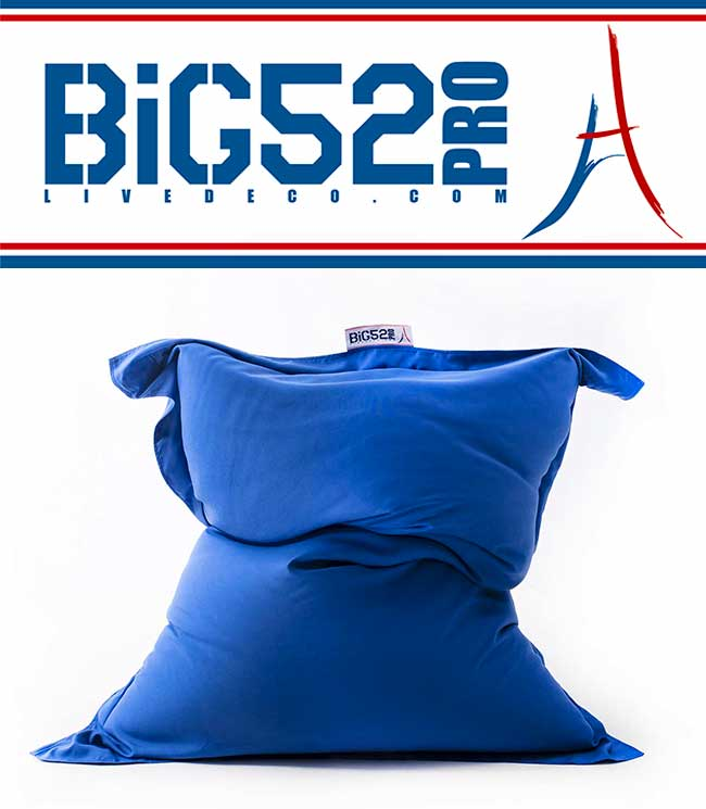 Pouf avec tissu polyester bleu, M1 Anti-Feu Norme ERP