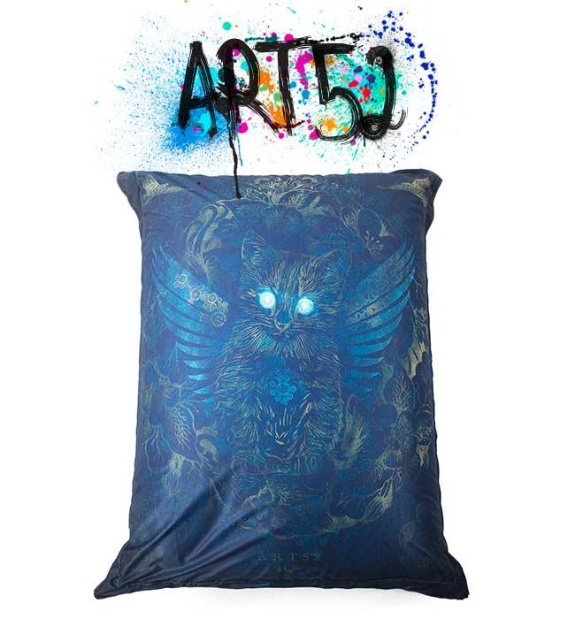 Pouf ART52 Le Monde Des Chats, avec tissu polyester, M1 Anti-Feu
