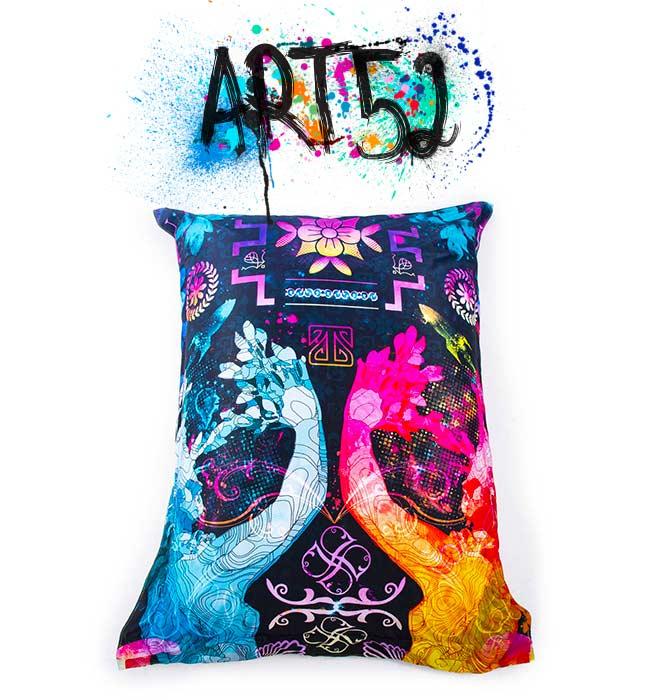 Pouf ART52 Gods And Humans, avec tissu polyester, M1 Anti-Feu