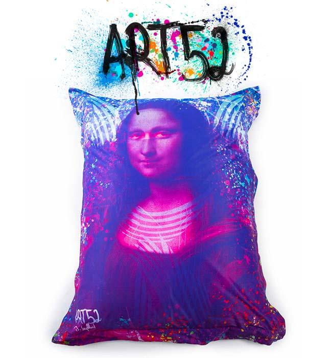 Pouf Géant ART52® - Mona Lisa POP, M1 Anti-Feu Norme ERP
