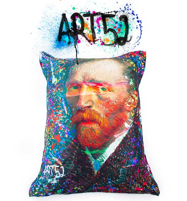 Pouf ART52 Van Gogh Pop II, avec tissu polyester, M1 Anti-Feu