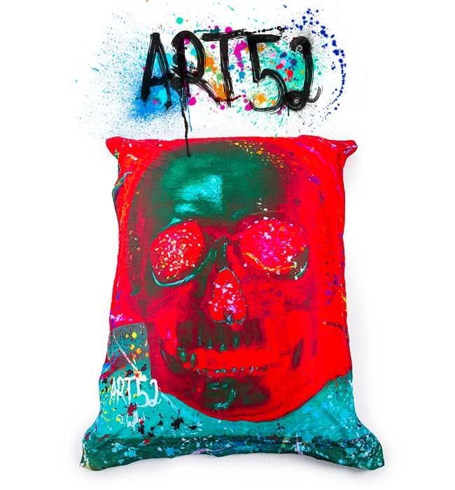 Pouf ART52 Vanité Rouge, avec tissu polyester, M1 Anti-Feu