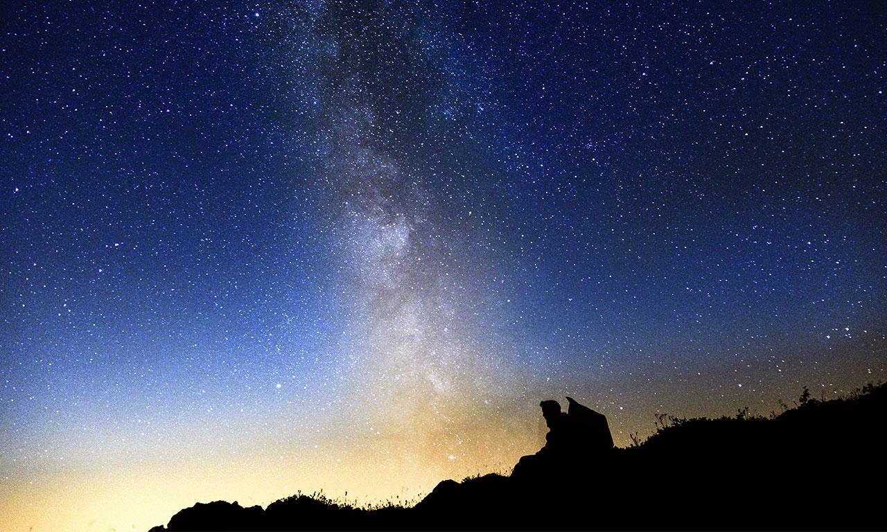 pouf geant BiG52 nuit étoilés, avec la voie lactée