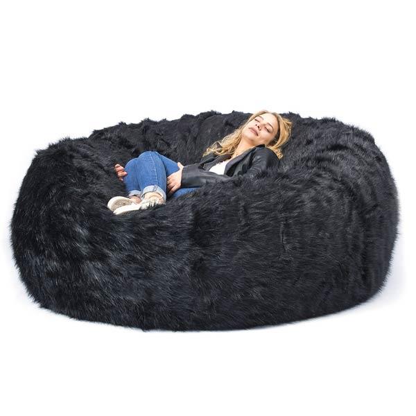 pouf géant fourrure poil long TiTAN noir