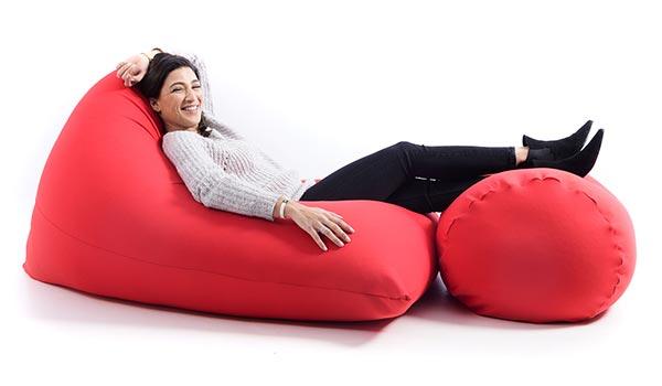 Pouf gigante rosso ultra flessibile